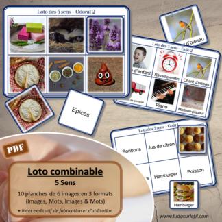 Loto combinable - 5 sens et corps humain - toucher, ouie, odorat, vue, goût - images noms - jeu progressif et à combiner - lecture et observation - travail de vocabulaire et du langage oral - à télécharger et à imprimer - Atelier maternelle - lslf