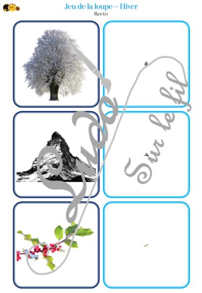 Jeu de la loupe - Hiver - animaux du froid, fruits et légumes, nature, vêtements, évènements, noël, objets - cartes à associer aux miniatures avec une loupe - apprentissage utilisation loupe - à télécharger et à imprimer - atelier autocorrectif maternelle - lslf