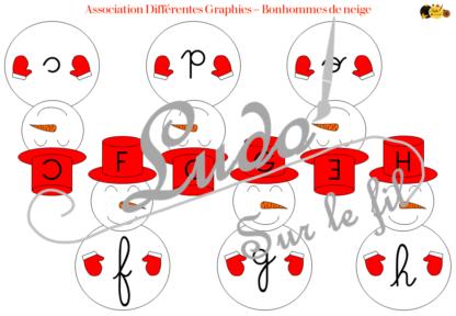 Jeu d'association différentes graphies des lettres - Bonhommes de neige et hiver - Ecritures majuscule script et cursif - Ordre alphabétique - Alphabet - Atelier autonome maternelle - IEF - à télécharger et imprimer - lslf