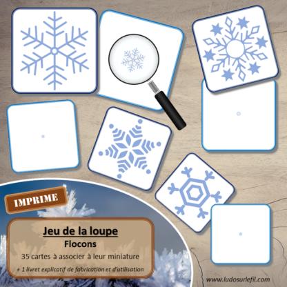 Jeu de la loupe - Hiver - Flocons de neige - cartes à associer aux miniatures avec une loupe - apprentissage utilisation loupe - à télécharger et à imprimer - atelier autocorrectif maternelle - lslf