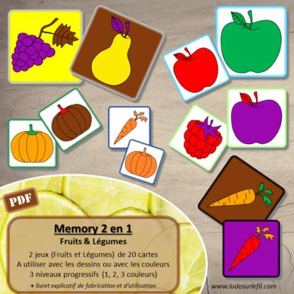 Jeu de memory 2 en 1 - Fruits et légumes - Dessin ou couleurs - 3 niveaux progressifs - Unicolore bicolore et tricolore - Jeu de mémoire ou jeu d'association - Multiples combinaisons possibles - Mise en paire - Vocabulaire / lexique et observation - 20 cartes - Atelier autonome maternelle et cycle 2 - fichier à télécharger et à imprimer ou imprimé - lslf