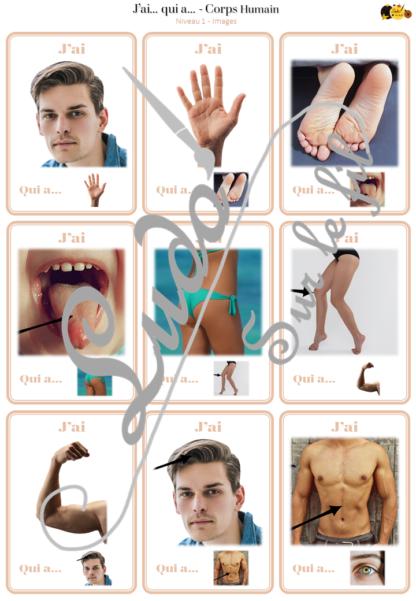 Jeu J'ai... qui a... Corps Humain - Travail sur le vocabulaire des parties du corps humain - développement du langage, du lexique, de la logique - 48 cartes - 2 niveaux - 3 versions - lecture de mots - Atelier autonome maternelle et cycle 2 - fichier à télécharger et à imprimer ou imprimé - lslf