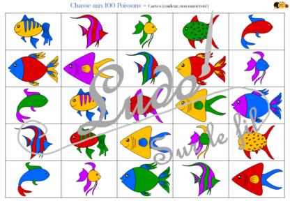 Chasse aux 100 poissons - Jeu à télécharger et à imprimer - Couleurs et noir et blanc à colorier - chasse géante intérieure - Poisson d'avril - 1er avril - Observation, discrimination visuelle, patience - recherche - lslf