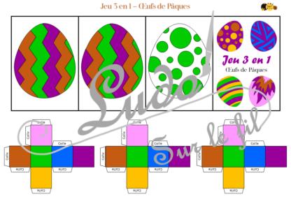 Jeu 3 en 1 oeufs de pâques - à télécharger et à imprimer - Couleurs - Memory - Mistigri - Jeu couleurs aux dés - Printemps - Discrimination visuelle - Rapidité et observation - lslf
