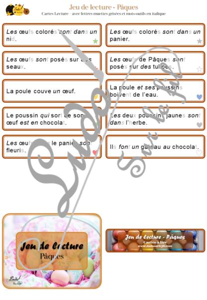 Jeu de lecture - Pâques - Lis les cartes et associe-les à la bonne photo - Lecture de phrases, fluence et compréhension de l'écrit - 4 niveaux d'aide à la lecture - Poules, oeufs, poussins, lapins, cloches - Lexique et Vocabulaire - Atelier autocorrectif apprentissage lecture - Cycle 2 - 30 photos - à télécharger et à imprimer ou jeu imprimé - Printemps - lslf