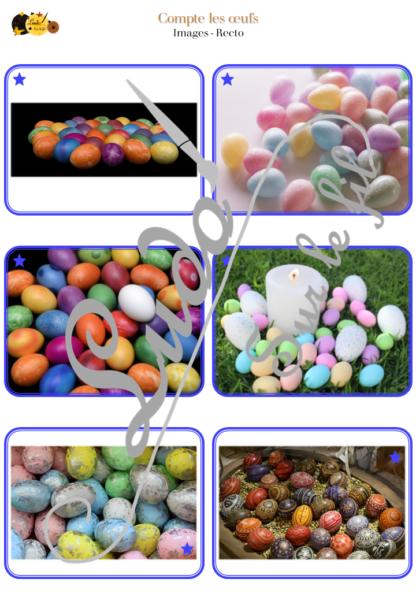 Jeu Compte les œufs - Pour pâques - Jeu de dénombrement de 1 à 24 oeufs puis de 25 à 88 oeufs (mode défis) - 76 cartes et 76 paniers à associer - à télécharger et à imprimer ou jeu imprimé - Notion dizaines unités - Plus grand ou petit que - Additions - Plusieurs utilisations possibles - Printemps - Discrimination visuelle, organisation et observation - lslf