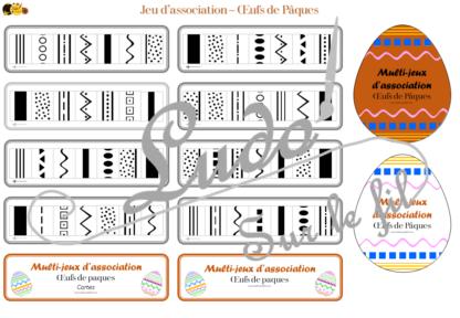 Multi-jeux d'association - oeufs de pâques décorés - 8 œufs à associer à leur succession de couleurs, aux couleurs présentes à leur succession de motifs - 2 niveaux progressifs - combinables - à télécharger et à imprimer - Printemps - Discrimination visuelle - observation - atelier autocorrectif Maternelle - lslf