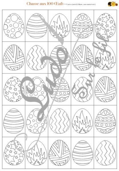 Chasse aux 100 œufs de Pâques - Jeu à télécharger et à imprimer - Couleurs et noir et blanc à colorier - chasse géante intérieure - Oeufs en chocolat - Paques - Printemps - Observation, discrimination visuelle, patience - recherche - lslf