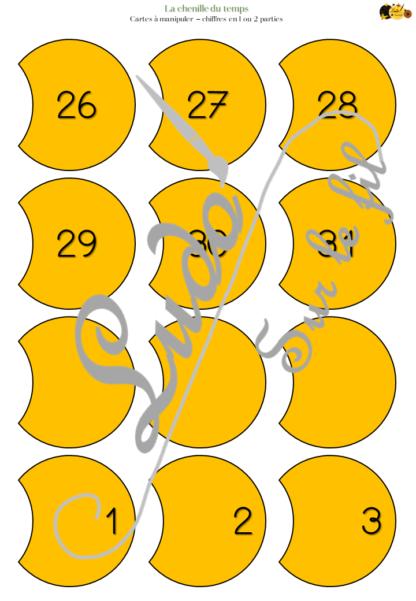 La chenille du temps - Fichier Jeu à télécharger et à imprimer pour travailler sur le temps dans le thème Papillon et chenille - Rituel de la date (jour, chiffre, mois, année), travail des jours de la semaine, des mois de l'année, de la correspondance entre les différentes graphies (majuscule, script et cursif), suite numérique de 1 à 31 - Affichage et cartes à manipuler - Maternelle ou début de cycle 2 - PDF - lslf