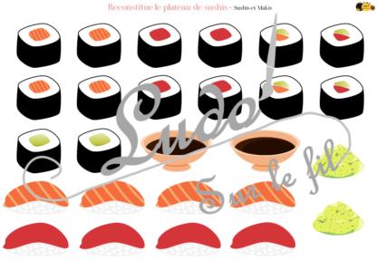 Reconstitue le plateau de sushis - Jeu de repérage dans l'espace à télécharger et à imprimer - Thème Japon - Replace les sushis, makis, baguettes, sauce soja, wasabi et gingembre - Reproduction de modèles - Cartes Défis de différents niveaux - Géographie, autour du monde, Asie, Gastronomie japonaise - Observation, discrimination visuelle - lslf