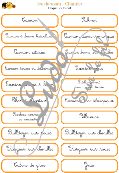 Jeu du zoom - Chantier - Engins, véhicules de transport, équipements de sécurité et outils, matériaux et métiers - Travaux - cartes classifiées à associer aux détails - Etiquettes noms pour alternative ludique aux cartes de nomenclature - à télécharger et à imprimer - atelier maternelle - vocabulaire et connaissances - autocorrectif - lecture mots - lslf