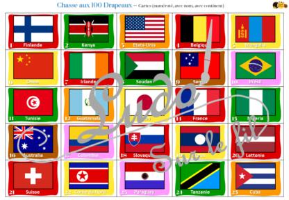 Chasse aux 100 drapeaux - Jeu à télécharger et à imprimer - Connaissances des drapeaux, pays et continents - chasse géante intérieure - Géographie, autour du monde - Observation, discrimination visuelle, patience - reconnaissance chiffres 1 à 100, lecture de mots - recherche - lslf