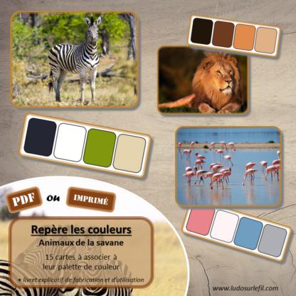 Jeu repère les couleurs - Animaux de la savane - photos / cartes à associer aux palettes de 4 couleurs - à télécharger et à imprimer - atelier autocorrectif maternelle ou cycle 2 - observation, déduction, logique, discrimination visuelle, vocabulaire et lexique - lslf