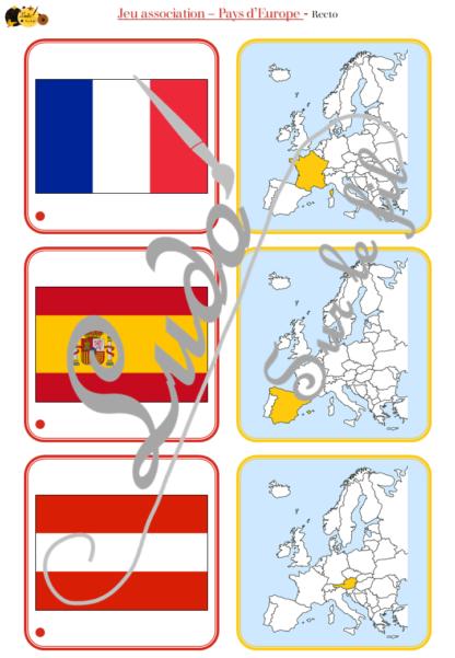Jeu d'association - Drapeaux, carte, noms des pays d'Europe - Union Européenne, Espace Schengen et Royaume-Uni - Géographie et pays - 32 cartes Drapeaux Europe à associer à 32 cartes et 32 étiquettes Noms - atelier autocorrectif maternelle ou élémentaire - Cycle 1, 2 ou 3 - Cartes avec noms des pays ou sans - discrimination visuelle, observation, lecture de mots, connaissance des drapeaux et pays - à télécharger et à imprimer ou jeu imprimé- lslf