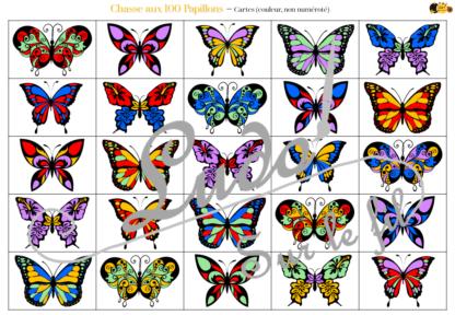Chasse aux 100 papillons - Jeu à télécharger et à imprimer - Couleurs et noir et blanc à colorier - chasse géante intérieure - Insectes et printemps - Observation, discrimination visuelle, patience - recherche - lslf