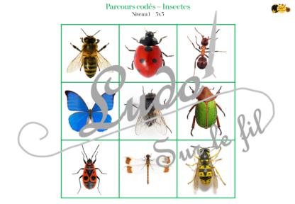 Suis le parcours codé - insectes et petites bêtes du jardin - animaux et printemps - codage, repérage et vocabulaire spatial - jeu et atelier autonome et autocorrectif Maternelle (Cycle 1) et Primaire (Cycle 2) - à télécharger et à imprimer - difficulté progressive et solutions - lslf