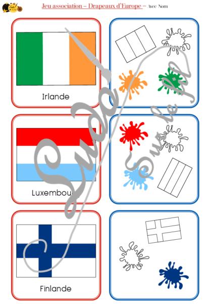 Jeu d'association - Drapeaux d'Europe - Géographie et pays - 53 cartes Drapeaux Europe à associer à 53 cartes Code (forme, couleurs, symbole) - atelier autocorrectif maternelle ou élémentaire - Cycle 1 ou 2 - Cartes avec noms des pays ou sans - - discrimination visuelle, observation, lecture de mots, connaissance des drapeaux et pays, rapidité - à télécharger et à imprimer ou jeu imprimé- lslf