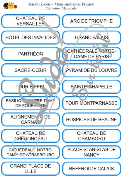 Jeu du zoom - Monuments de France - Géographie et régions françaises - cartes classifiées à associer aux détails - Etiquettes noms pour alternative ludique aux cartes de nomenclature - Autocorrection au dos avec symboles, noms et régions - à télécharger et à imprimer - atelier maternelle autocorrectif - vocabulaire et connaissances - lecture mots - discrimination visuelle - lslf