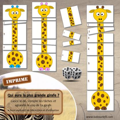 Jeu Qui aura la plus grande girafe - Animaux de la savane - Jeu de dés, de mathématiques et de dénombrement de 1 à 12 - Notions de mesures et longueurs - Suite numérique et représentations des chiffres - Atelier maternelle imprimé - cycle 1 - additions et calcul - lslf