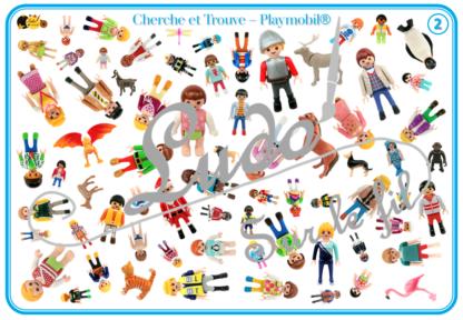 Cherche et Trouve - Lynx - Figurines Playmobil® - Humains et Animaux - 1 plateau et 35 ou 70 cartes à trouver - 2 niveaux - jeu - observation, rapidité - à télécharger et à imprimer ou jeu imprimé - atelier maternelle - Photos sur fond blanc - lslf
