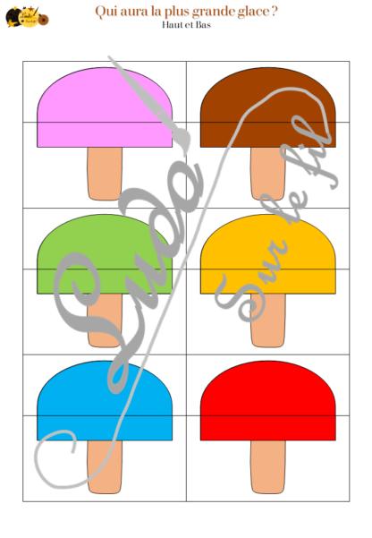 Jeu Qui aura la plus grande glace - été et vacances - Jeu de dés, de mathématiques et de dénombrement de 1 à 12 - Notions de mesures et longueurs - Suite numérique et représentations des chiffres - Atelier maternelle à télécharger et imprimer - cycle 1 et 2 - additions et calcul - lslf