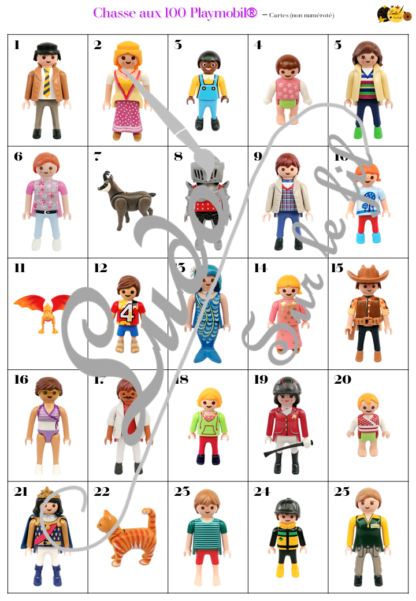 Chasse aux 100 figurines Playmobil® - Jeu à télécharger et à imprimer - Photos sur fond blanc de figurines Hommes, Femmes, Enfants Filles, Garçons, Bébés et animaux - chasse géante intérieur - Observation, discrimination visuelle, patience - recherche - lslf