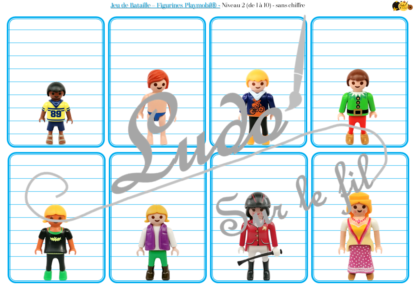 Jeu de bataille - Figurines Playmobil - Comparaison de taille et de chiffres et nombres - 4 niveaux - avec ou sans chiffre - de 1 à 6 - de 1 à 10 - de 5 à 50 de 5 en 5 - de 10 à 100 de 10 en 10 - Progressif - Classement par ordre croissant - Rangement - Tri taille - Reconnaissance Chiffres - à télécharger et à imprimer ou jeu imprimé - Atelier maternelle et Cycle 2 - Vocabulaire vêtements et corps humain - lslf