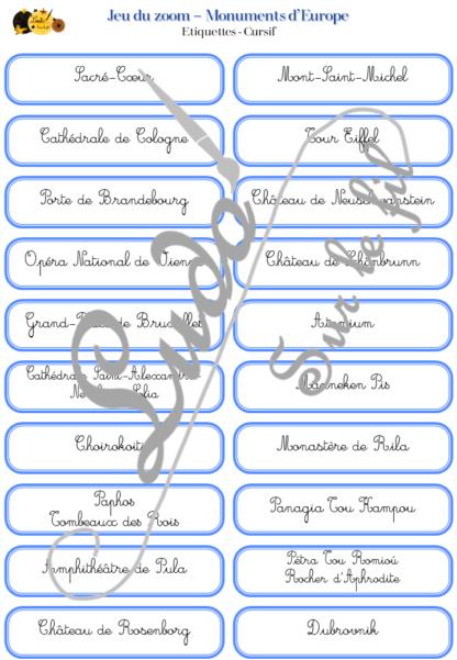 Jeu du zoom - Monuments Europe - Géographie et pays européens - cartes classifiées à associer aux détails - Etiquettes noms pour alternative ludique aux cartes de nomenclature - Autocorrection au dos avec symboles, noms, pays et drapeaux - à télécharger et à imprimer - atelier maternelle autocorrectif - vocabulaire et connaissances - lecture mots - discrimination visuelle - lslf