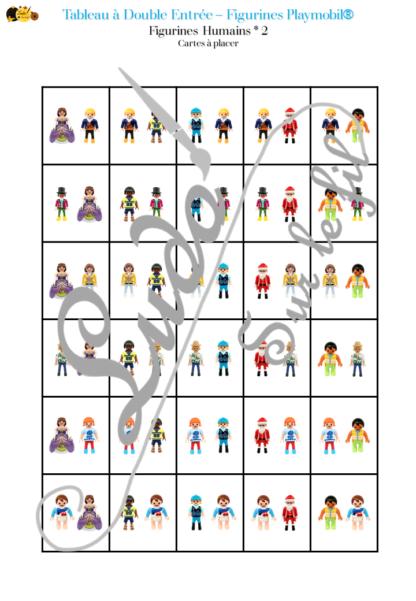 9 tableaux à double entrée - Figurines Playmobil - couleurs, position, taille, dénombrement, association de figurines, reconnaissance chiffres et constellations, doigts de la main - atelier autocorrectif maternelle - logique - jeu à télécharger et à imprimer - représentation spatiale - mathématiques - lslf