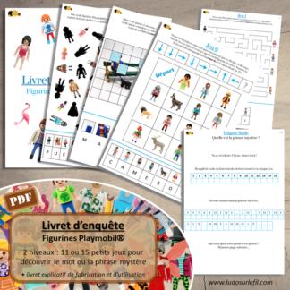 Livret Enquête sur les figurines Playmobil - Multi-jeux pour résoudre une énigme et découvrir un mot ou une phrase Mystère - Labyrinthe, Puzzle, Zoom, Détails, Logigramme, Parcours codés, Repérage dans un quadrillage, Sudoku, Algorithmes, Mise en paire, association formes et couleurs, mots croisés, ombres, puzzles, dénombrement, additions, cherche et trouve, le sais-tu, devinettes- Cahier de jeux Vacances - à télécharger et à imprimer ou jeu imprimé - 2 niveaux : maternelle, cycle 2 et 3 - lslf