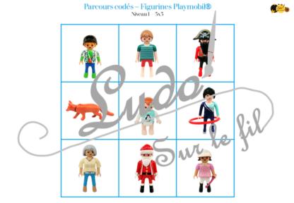 Suis le parcours codé - Figurines Playmobil - animaux et bonhommes - codage, repérage et vocabulaire spatial - jeu et atelier autonome et autocorrectif Maternelle (Cycle 1) et Primaire (Cycle 2) - PDF à télécharger et à imprimer ou jeu imprimé - difficulté progressive et solutions - lslf