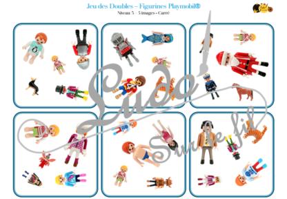 Jeu des doubles - figurines Playmobil à télécharger et à imprimer - Vêtements, corps humain, membres famille, couleurs, animaux - 5 niveaux progressifs (3 4 5 6 ou 8 images) - Dobble - jeu pour travailler la discrimination visuelle, la rapidité l'observation et le lexique / vocabulaire - lslf