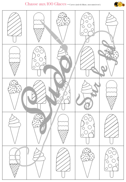 Chasse aux 100 glaces - Jeu à télécharger et à imprimer - Couleurs et noir et blanc à colorier - chasse géante intérieure ou extérieure - Glaces, gourmandises et été - Observation, discrimination visuelle, patience - recherche - lslf