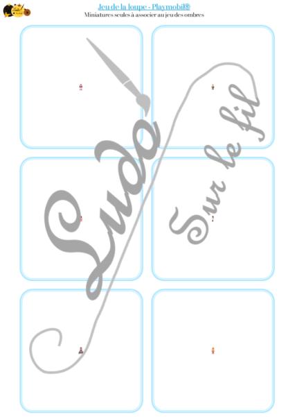 Jeu de la loupe - Figurines Playmobil - Animaux, chevaux, personnages et bonhommes - Vocabulaire Corps humain, vêtements - cartes à associer aux miniatures avec une loupe - apprentissage utilisation loupe - à télécharger et à imprimer ou jeu imprimé - atelier autocorrectif maternelle - lslf