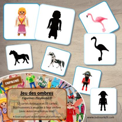 Jeu des ombres - Figurines Playmobil - Animaux, chevaux, personnages et bonhommes - Vocabulaire Corps humain, vêtements - cartes à associer aux ombres - à télécharger et à imprimer ou jeu imprimé - atelier autocorrectif maternelle - lslf