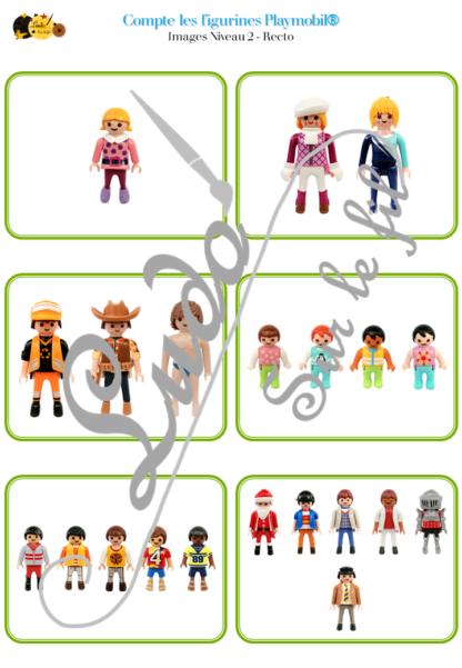 Jeu Compte les figurines Playmobil - Jeu de dénombrement de 1 à 18 bonhommes - 60 cartes de 4 niveaux progressifs - Etiquettes Chiffres à associer - à télécharger et à imprimer ou jeu imprimé - Notion Plus grand ou petit que - Ordre croissant décroissant - Petites Additions - Plusieurs utilisations possibles - Organisation et observation - atelier autocorrectif Maternelle et cycle 2 - Elémentaire- lslf