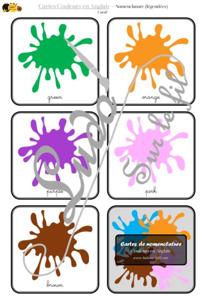 Jeu de cartes type Montessori (classifiées et de nomenclature) - Couleurs principales en Anglais - Autocorrection au dos (noms pour lecteurs, symboles pour non lecteurs) - Tickets ou billets de lecture - 3 graphies - Majuscule, cursif et script - Document PDF à imprimer Gratuit - Préscolaire et maternelle - 11 cartes pour apprentissage et tri de couleurs - Etiquettes Mots - atelier autocorrectif - Cycle 1 - discrimination visuelle, observation, lecture de mots - à télécharger et à imprimer - lslf