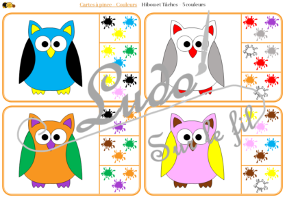 Jeu de cartes à pince sur les couleurs et les animaux de la forêt - 78 cartes réparties en 6 niveaux de difficulté - progressif - 1, 2, 3 couleurs - Animal et couleur ou deux animaux différents - Autocorrection au dos - Atelier préscolaire et maternelle autonome - Document PDF à télécharger et imprimer ou jeu imprimé - Motricité fine et pince Pouce-Index avec pinces à linge - ludique - lslf