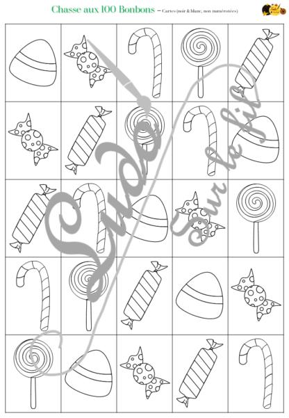 Chasse aux 100 bonbons - Jeu à télécharger et à imprimer - Couleurs et noir et blanc à colorier - chasse géante intérieure ou extérieure - Bonbons, gourmandises - Parfait pour Halloween - Observation, discrimination visuelle, patience, connaissance des chiffres de 1 à 100 - recherche - couleurs - Format PDF - lslf